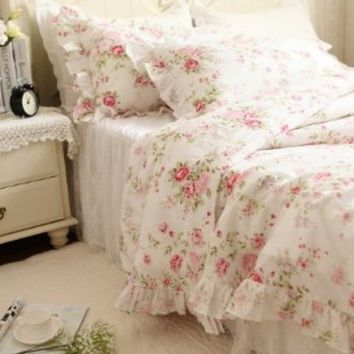 FADFAY Shabby Style Pink Little Rose Floral Print Duvet Cover Bedding Sets 4-Piece