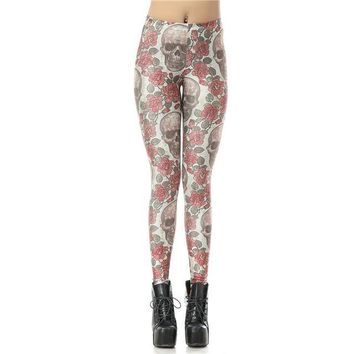 Red Roses and Sugar Skulls Gothic Leggings