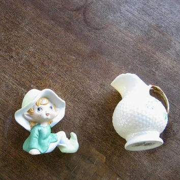 Flawed; Lovely Belleek Shamrock-Embossed Creamer w/ Green Vintage Homco/Japan Elf; Fun Irish/Whimsical/St. Patrick's Decor