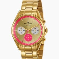 gold bazooka pink dial seaport chronograph - kate spade new york
