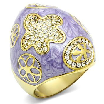 14kt Gold-Plated-Brass Dome Flower Ring
