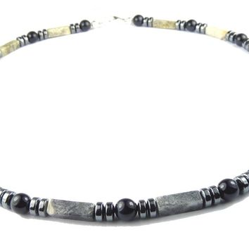 DAMALI Mens Chakra Necklace, Hawks Eye Beaded Gemstone Necklace, Handmade Jewelry for Men, Guys, Dads, Him - Jewels for Gents