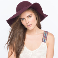 Womens Floppy Wool Hat Burgundy