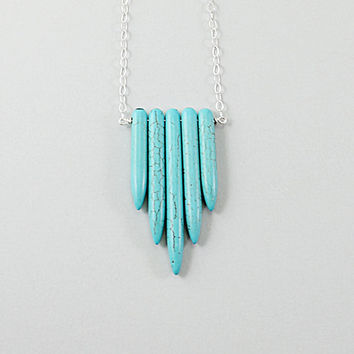 Turquoise necklace chevron turquoise spike necklace sterling silver