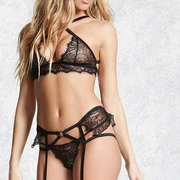 3-Pc Eyelash Lace Lingerie Set