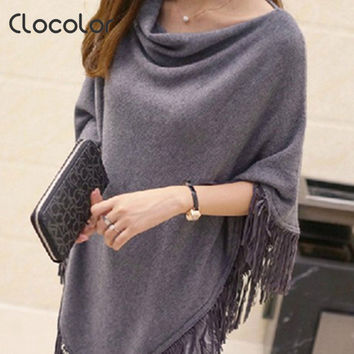 Clocolor 2016 New Arrival Women Sweater Pullover with Tassels Casual Knitted Women Autumn Tops Irregular Tops Poncho Shawl Cape