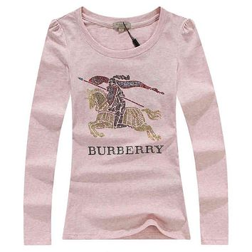Burberry Fashion Sequins Logo Solid Long Sleeve Shirt Top Tee
