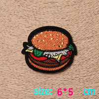 2016year New arrival 1PC hamburger food cute Iron On Embroidered Patch For Cloth Cartoon Badge Garment Appliques DIY Accessory