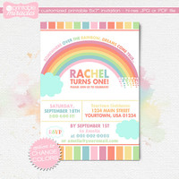 Rainbow birthday invitation, Pastel rainbow party invites, Custom colorful over the rainbow digital printables, 1st birthday or any ages