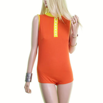Twiggy 60s mod dress mod shirt vintage leotard bodysuit 60s shirt Onesuit hippie shirt orange yellow 1960s 60s clothing women RARE OOAK vtg m