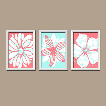 Coral Aqua Wall Art Bedroom Wall Art CANVAS or Prints Nursery Bathroom Wall Art Bedroom Pictures Flower Wall Art Flower Dahlia Set of 3