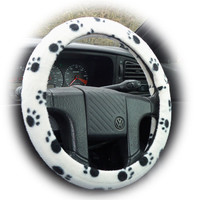black and white Paw print fleece car Steering wheel cover for the animal cat dog lover