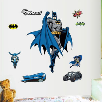 Batman Removable Wall Art Sticker Vinyl Decal Home Decor Mural Boys PVC Bedroom (Color: Blue)