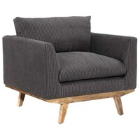 Arden Chair, Charcoal Pinstripe