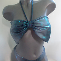 mermaid  bow swimming suit 2 parts hologram iridescent color bow back thong bikini big bow bandeau top brazilian thong bottom sexy swimwear