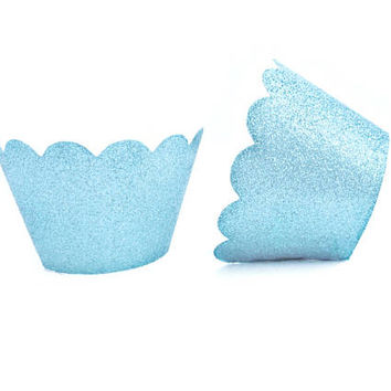 12 Pale Blue Glitter Scallop Cupcake Wrappers - Cupcake Liners, Cupcake Cases, Cupcake Wrapper, Muffin Cups, Muffin Wrappers