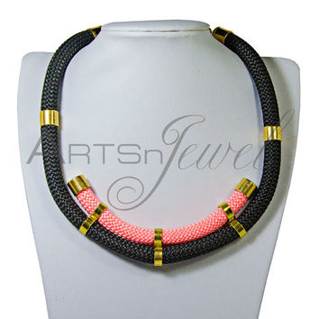 Black necklace with climbing rope