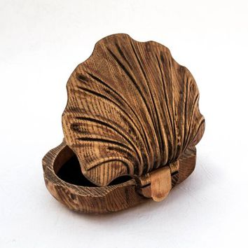 Seashell wooden carved keepsake-Wooden Ring Box-Wooden Jewelry Box-Small Wooden Boxes-Jewelry Gift Boxes-Jewelry Boxes Women-Jewelry Storage