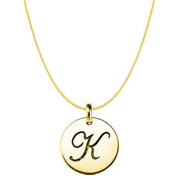 """K"" 14K Yellow Gold Script Engraved Initial Disk Pendant"