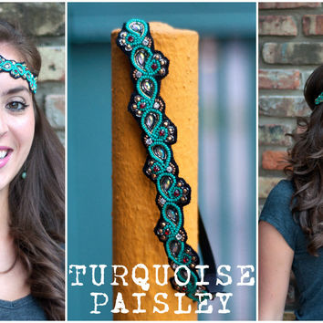 Turquoise Paisley | Beaded Headband