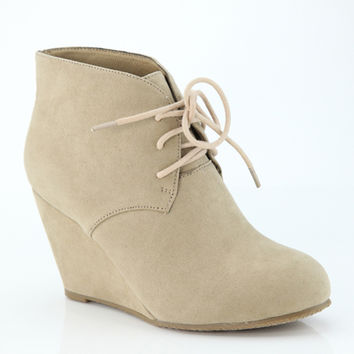 Never Too Much Wedge Booties ~ Taupe ~ Sizes 5.5-10