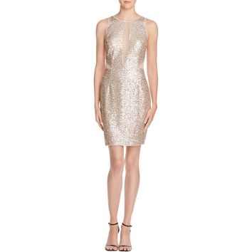 Aqua Womens Sequined Illusion Cocktail Dress