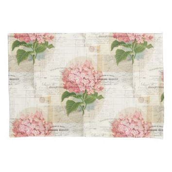 Vintage Pink Hydrangea French Pillowcase