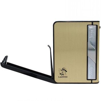 GETOW Unishow Metal Cigarette Case with USB lighter Electronic Flameless Windproof Lighters for Men Smooking Tools Accessories (Gold-61363)