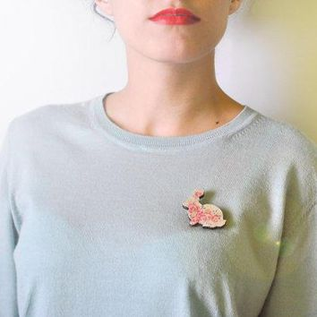 Brooch Rustic Bunny   Wooden Animal Illustration Flowery Eco Safety Pin // Shabby Chic Hipster Preppy Naif Vintage