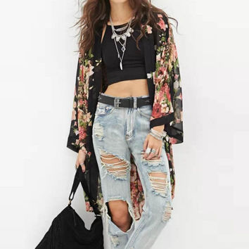 Floral Print Chiffon Printed Long-Sleeved Women's Top Blouses Maxi Kimono Cardigan