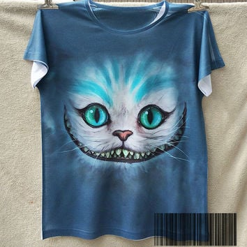 Track Ship+New Retro T-shirt Top Tee Smile Ghost Cheshire Cat Alice Alice's Adventure in Wonderland 0397