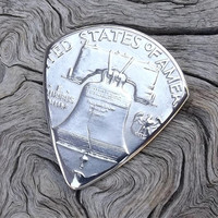 Premium Coin Guitar Pick - Handmade with a Vintage 1954 - Franklin Silver Half Dollar