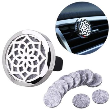 Lotus Flower Shaped Aromatherapy Car Essential Oil Diffuser Locket Clip with 10 Washable Felt Refill Pads