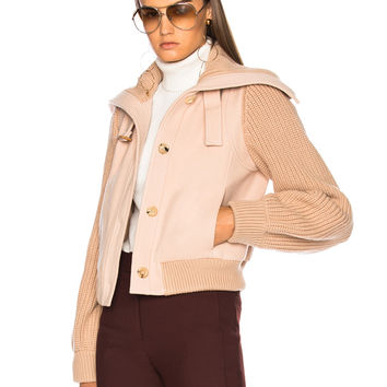 Chloe Soft Brushed Wool Bomber Jacket in Earthy Pink | FWRD