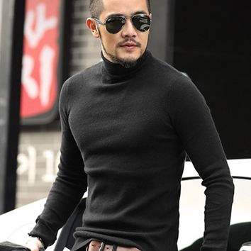 Mens Black Wool Turtleneck Sweater Slim Fit Solid Men Knit Cashmere Pullovers And Sweaters