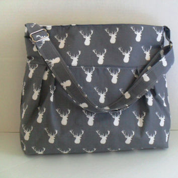 Deer Diaper Bag in Gray - Diaper Bag - Buck Head - Messenger Bag - Nappy Bag - Crossbody - Deer Diaper Bag - Cross Body