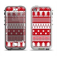 The Red and White Christmas Pattern Apple iPhone 5-5s LifeProof Nuud Case Skin Set