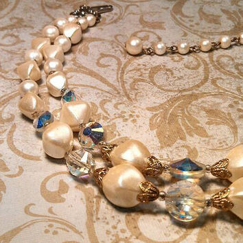Vintage pearl color and ab color double strand choker