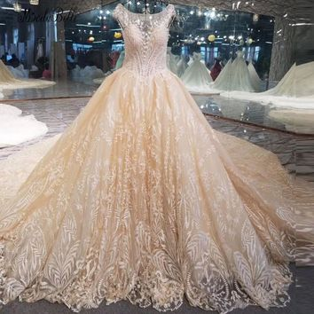 modabelle Champange Beaded Open Back Ball Gown Wedding Dresses 2018 Luxury Lebanon Trouwjurk Lace Bridal Dress Shop Online