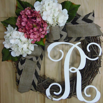 spring wreath - mauve hydrangea wreath -  summer wreath - easter wreath - monogram wrearth - mothers day