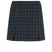 Navy Tartan Split Front Mini Skirt