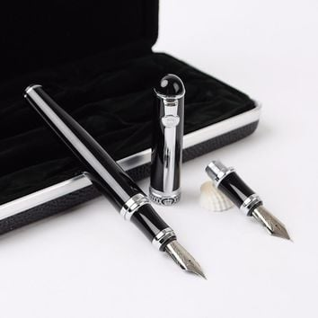 High Quality Metal Golden Double Nib Fountain Pen Signature Calligraphy Antique Executive Business Gift Pens for Office Supplies