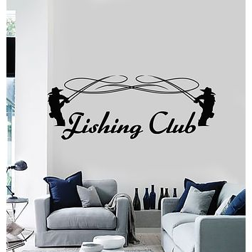 Vinyl Wall Decal Fishing Club Fish Store Hobby Man Decor Stickers Mural (g2555)