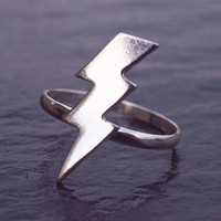 Lightning Bolt Ring, Sterling Silver, Silver Lightning Ring, Lightning Strike jewelry