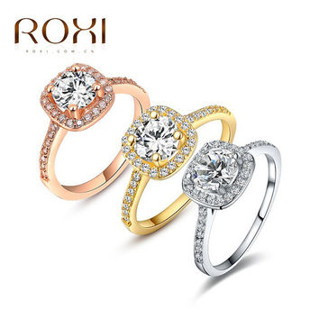 ROXI Exquisite Rings platinum/rosegold/18K plated with zircon,fashion Environmental Micro-Inserted Jewelry fit Pandora Jewelry
