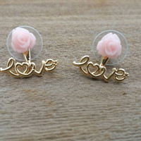 Pink rose love ear jacket.ear jacket earrings.love earrings. Bridal jewelry. Wedding earrings.