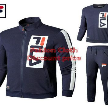 Fila Three-Piece Suit Sweater Long Sleeve Shirt And Trousers S-3XL ST 25743574 Blue