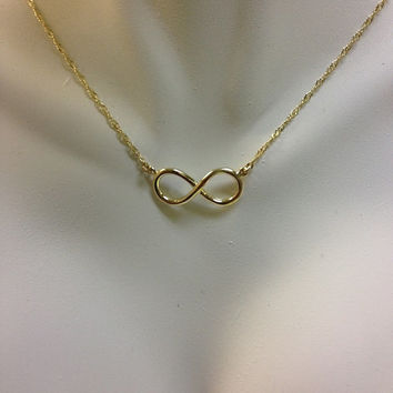 14K Yellow Gold Infinity Necklace, Infinity Necklace, Infinity Jewelry, Fancy Jewelry, Infinity, Love Jewelry, Gold Necklace