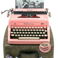 NEAR MINT 1955 Pink Royal Quiet De Luxe Typewriter / Professionally Serviced / Pink Typewriter / Royal Typewriter / Working Typewriter