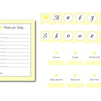 Yellow Polka Dot Heart Baby Shower Banner, Food Labels, and Wishes for Baby Cards: INSTANT DOWNLOAD